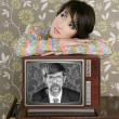 Retro woman in love with tv nerd hero - Stock fotografie