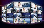 Futuristic tv video news digital screen wall — Stock Photo
