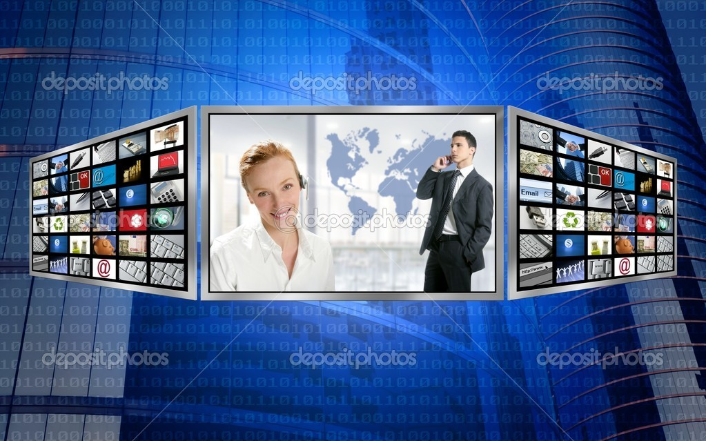 Three screen monitor, business world tech communication  Stock Photo #5309042