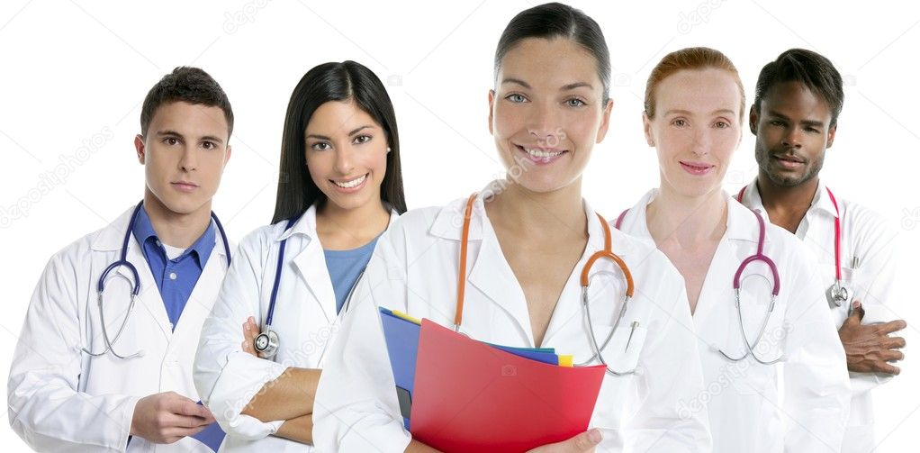 Doctors team group in a row on white background men and women doctor — Stock Photo #5309276