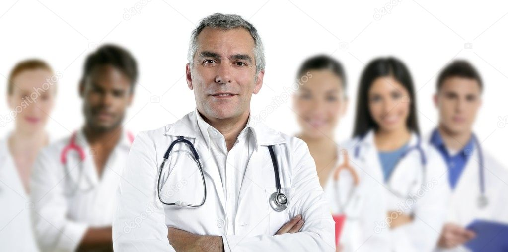 Expertise gray hair doctor multiracial nurse team row over white   Stock Photo #5309345