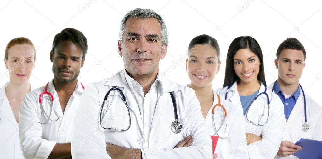 Expertise gray hair doctor multiracial nurse team row over white  — Stock Photo #5309347