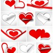 Stock Vector: Collection of hearts