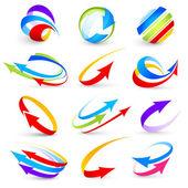 彩色箭头的集合 — 图库矢量图片