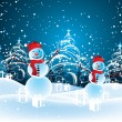 Christmas snowmen - Stock Vector