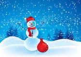 Snowman with a bag — Stock Vector