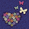 图库矢量图片: Postcard with heart and butterfles