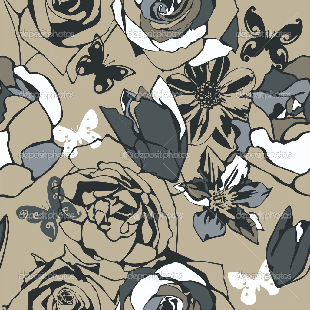Vector texture consist of flowers on beige background. Vector illustration  Stock Vector #5136019