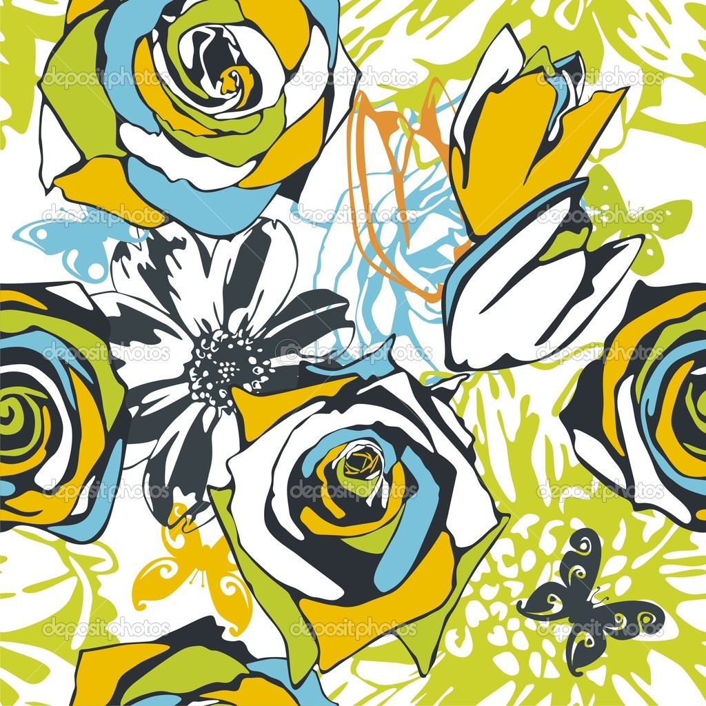 Vector texture consist of flowers on white background. Vector illustration — Stock Vector #5136021