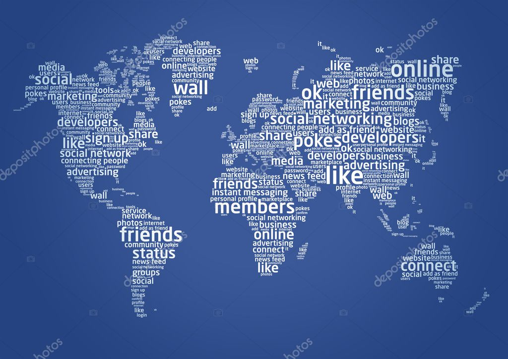 Words from social networking languages make the world map — Stock Photo #5140768
