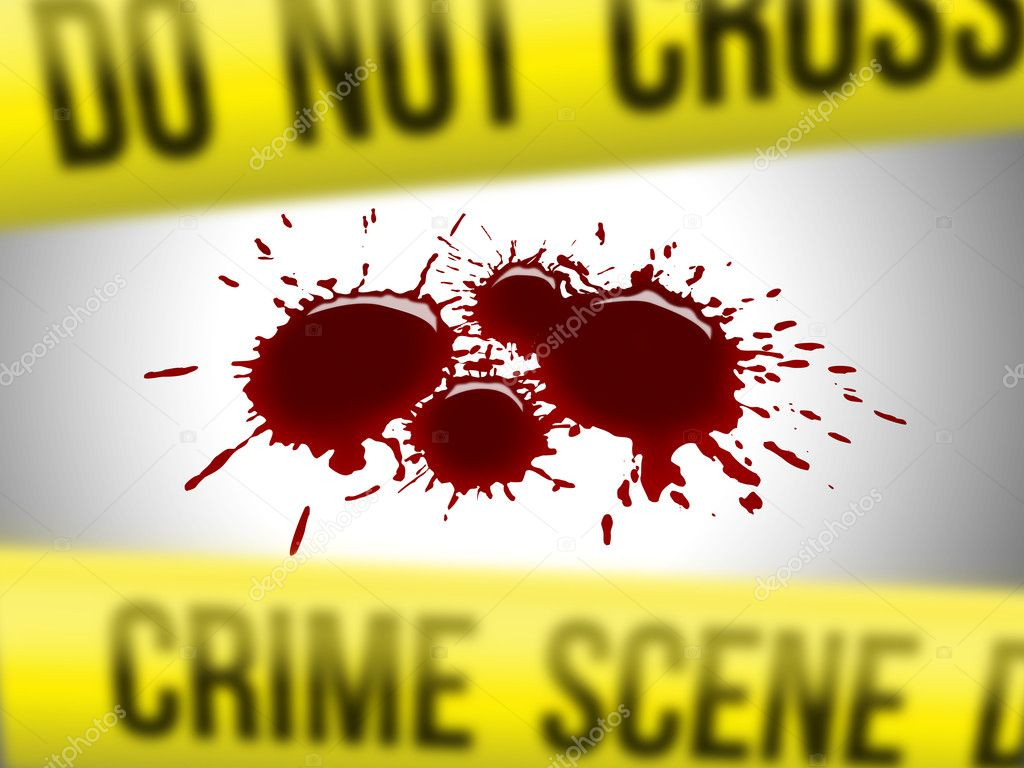 Crime scene do not cross yellow ribbon with blood  Stock Photo #5140898