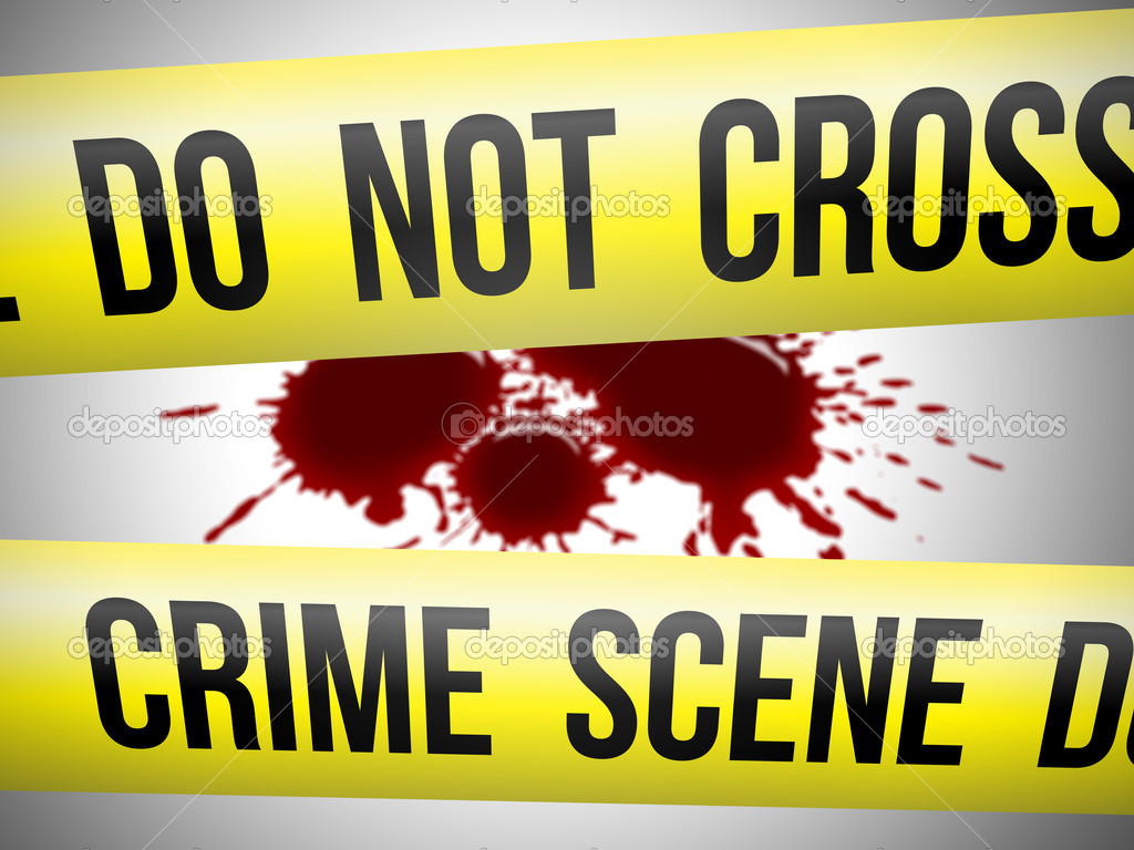 Crime scene do not cross yellow ribbon with blood  Stock Photo #5140906