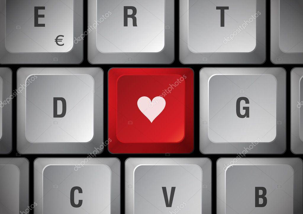 White keyboard, red touch with heart — Stock Photo #5141300