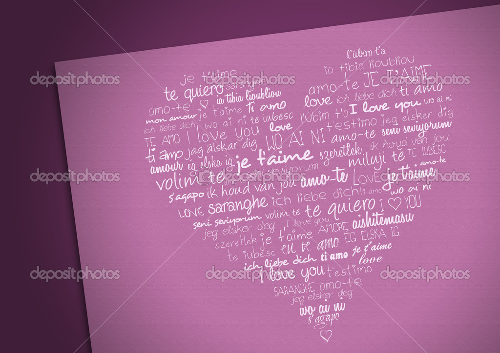 Heart with i love you in different languages — Stock Photo #5197339