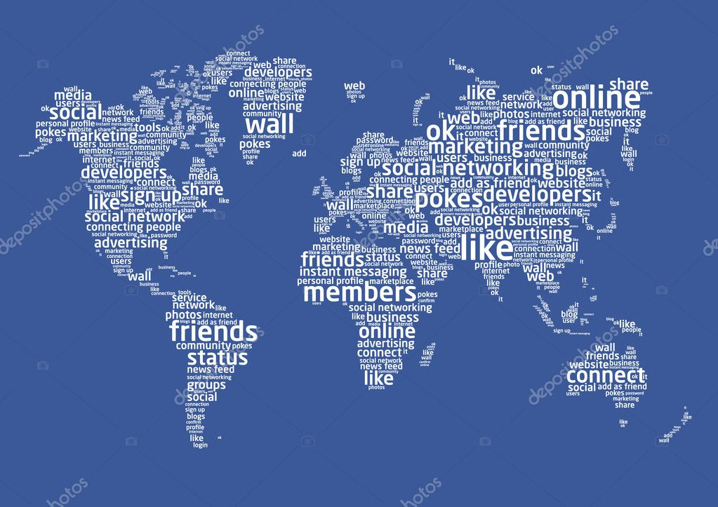 World map with social networking languages words  Stock Vector #5219236