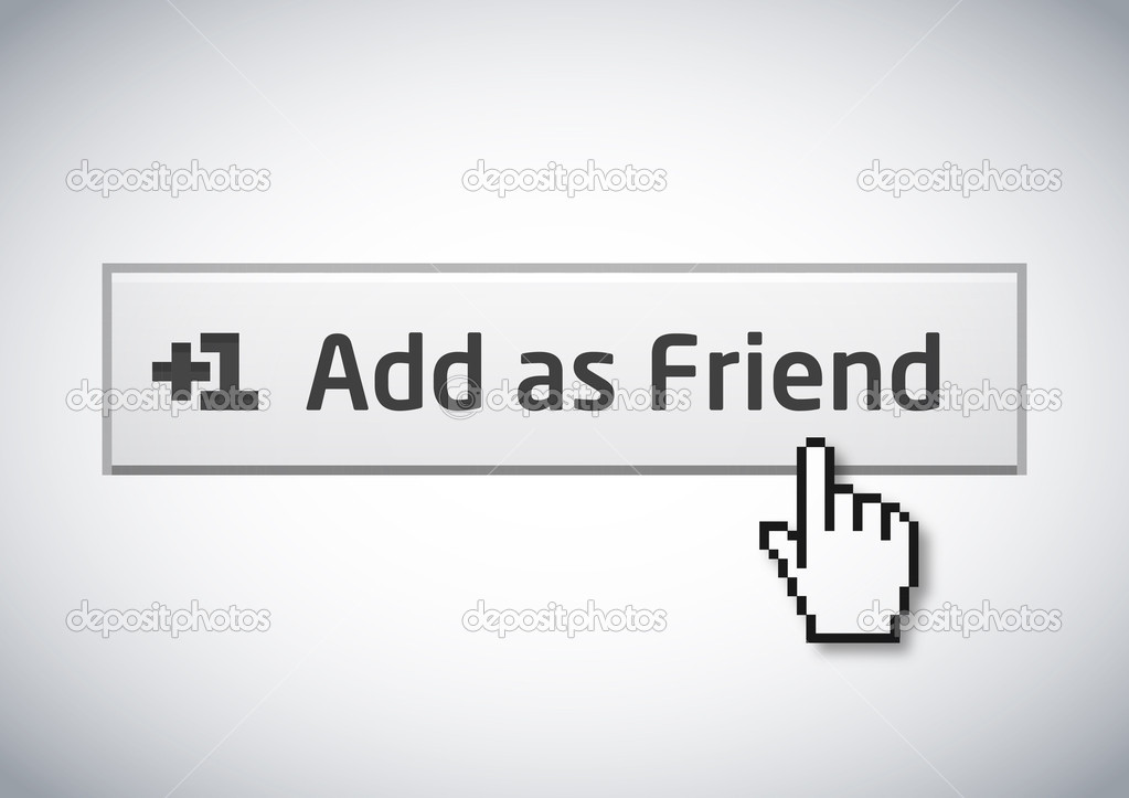 Add as Friend button version 2 with mouse cursor — Stock Vector #5233295