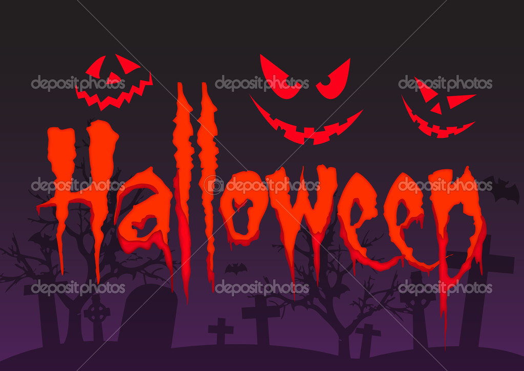 Halloween orange text with background — Stock Vector #5234693