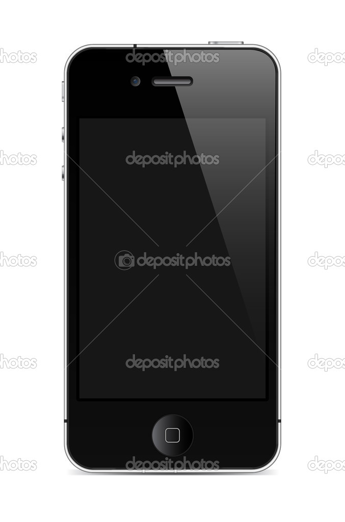 Black mobile phone with light reflection  Stock Vector #5234827