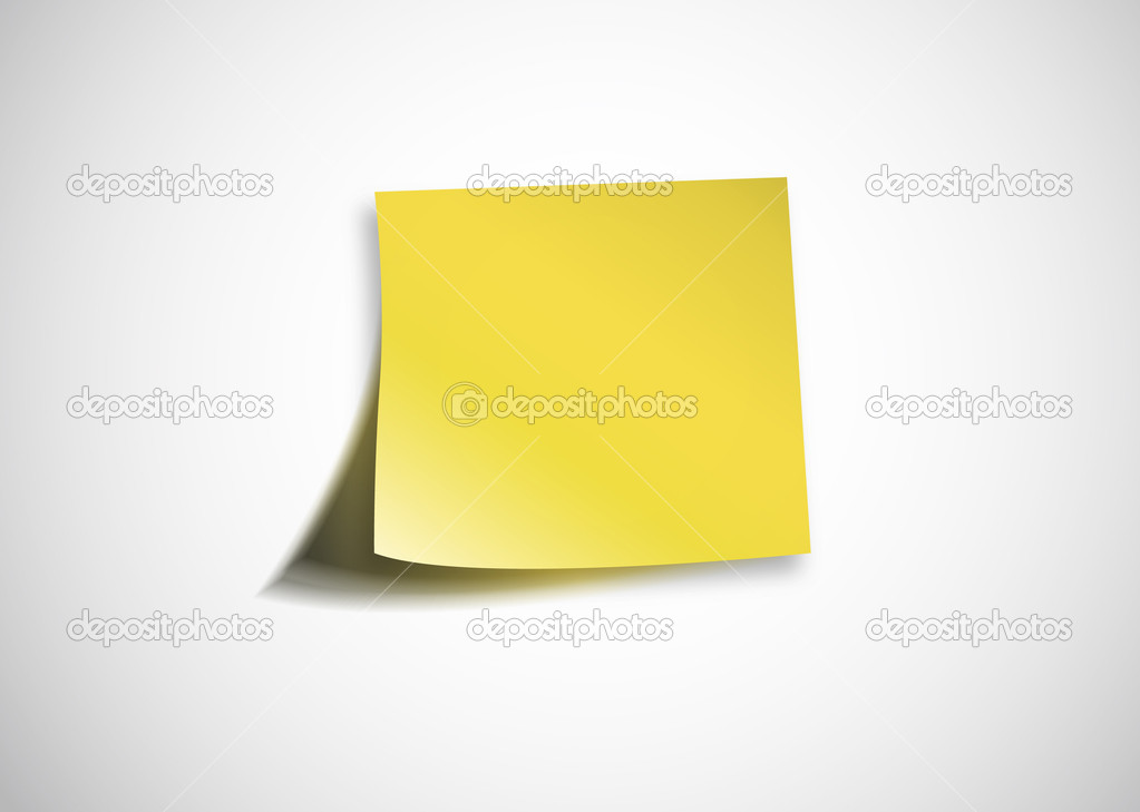 Blank Post-it on a white wall — Stock Vector #5235107