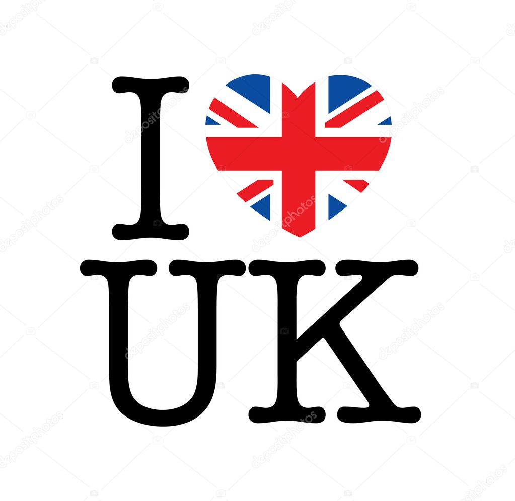 I love UK, heart with Union Jack — Stock Vector #5362888