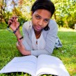 Stock Photo: Young Student reading books at the school park