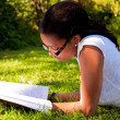 Stock Photo: Young Student reading books at school park