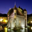 Palace of Isle by night at Annecy - Stock Photo