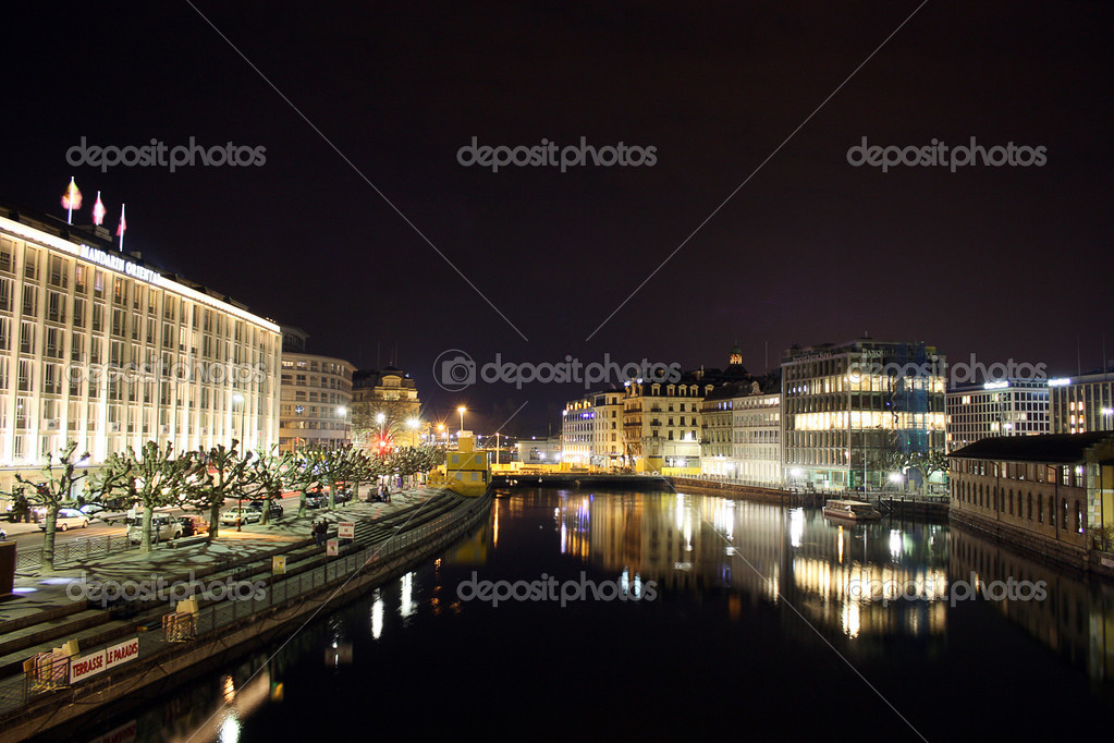 Switzerland Geneva  by night  Stock Photo #5141607