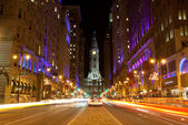 Philadelphia streets by night — Stock Photo