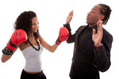 Young black woman and men boxing — Stock Photo