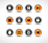 Buttons with media icons. — Stock Vector
