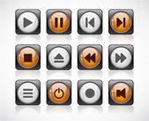 кнопки с медиа иконки. — Cтоковый вектор