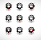 Buttons with crowns. Vector — Stock Vector