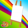 Easel and rainbow — Stock Vector