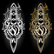 Dagger with a rose tattoo design — Vector de stock #5132874