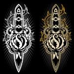 dolk met een rose tattoo ontwerp — Stockvector