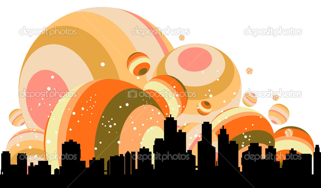 Joyful illustration of contemporary cityscape — Stock Vector #5194538
