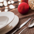 Christmas place settings - Stock Photo