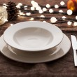 Christmas place settings — Stock Photo