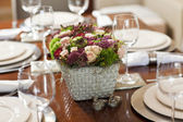 Fine table setting for wedding with flower — Stock Photo
