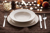 Christmas place settings — Foto de Stock