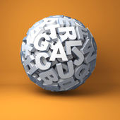 Ball from letters on an orange background — Stock Photo