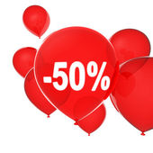 Red helium balloons. A discount is fifty percents — Stock Photo