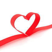 Heart from red ribbon — Stock Photo