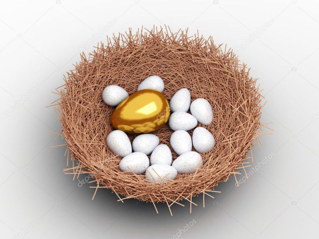Unique gold egg among ordinary eggs in the nest of bird — Stock Photo #5136468