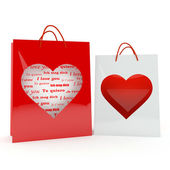 Two hearts on the bags — Stock fotografie
