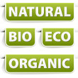 Set of green bookmarks for organic food — Stock Vector