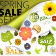 Stock Vector: Set of fresh spring sale elements