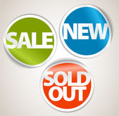 Set of labels for the new, sold out and discount item — Stock Vector