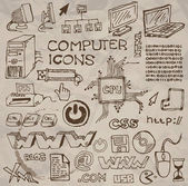 Set of hand-drawn computer icons (vector) — Stock Vector